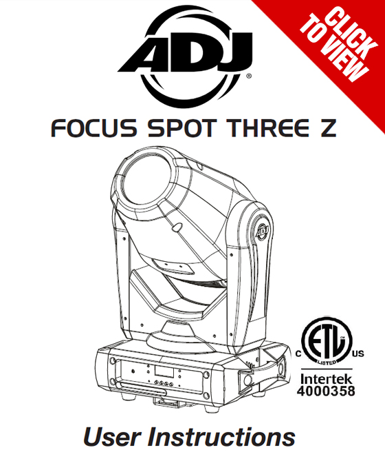 American DJ Focus Spot Three Z product manual