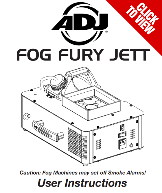 American DJ Fog Fury Jett Product Manual