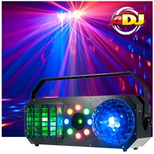 American DJ Boom Box FX1 4-IN-1 Effect Light with Wash, Derby, Strobe/Chase & Green & Red Laser