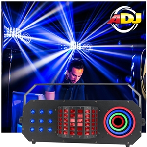 American DJ Boom Box FX3 3-FX-IN-1  Effect Light with Matrix TRI Color LED Effect, Mini Dekker Derby, & LED Visual Ring