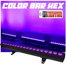 COLOR BAR HEX - 40 Inch Color Wash Bar - 18 Hex (6 in 1) 18 watt LEDs RGBAW+UV - Adkins Professional Lighting