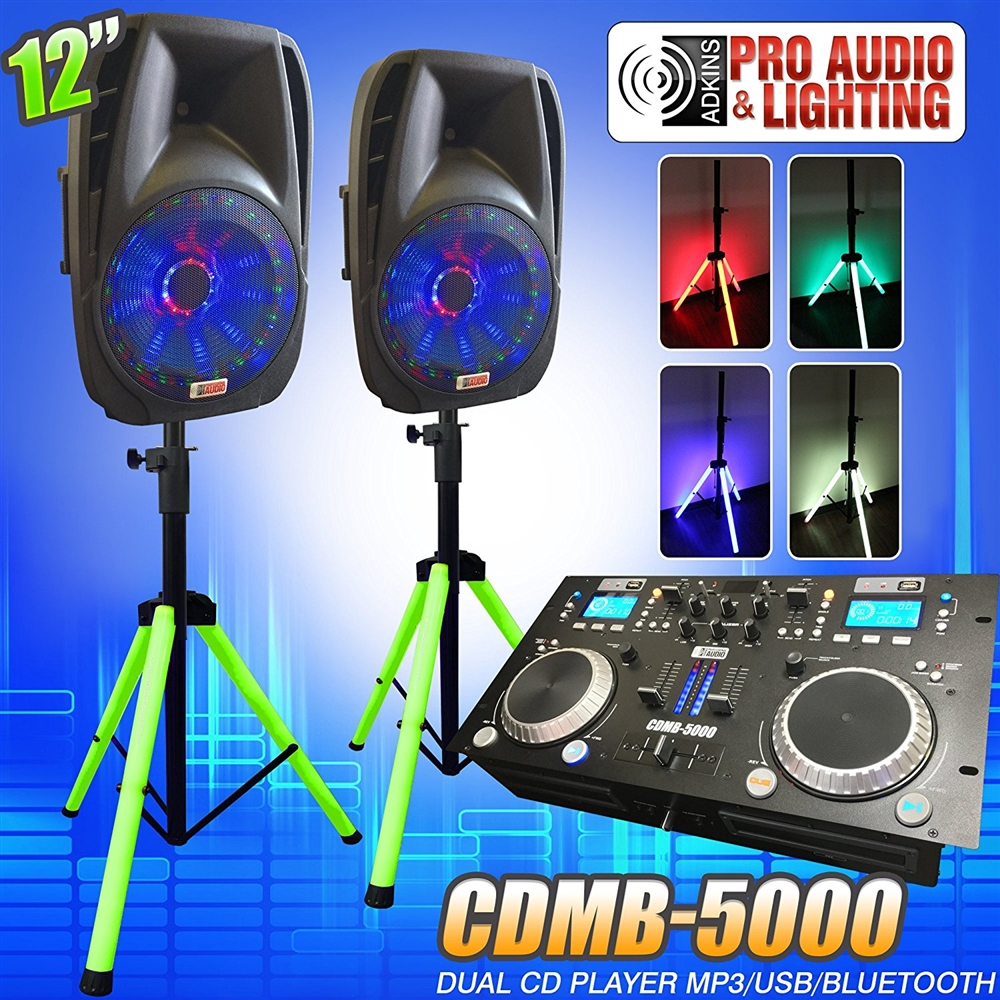 Lighted DJ System includes 2 Lighted Powered 12  DJ Speakers with 2 Lighted Speaker Stands - 1200 ...  sc 1 st  Cheap DJ gear & Lighted DJ System includes 2 Lighted Powered 12