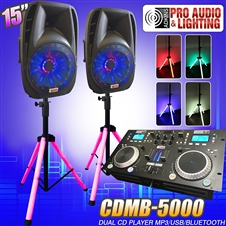 "Lighted DJ System includes 2 Lighted Powered 15"" DJ Speakers with 2 Lighted Speaker Stands - 1600 Watts - Bluetooth, MP3, USB, plug in your laptop or iPhone - Adkins Professional Audio"