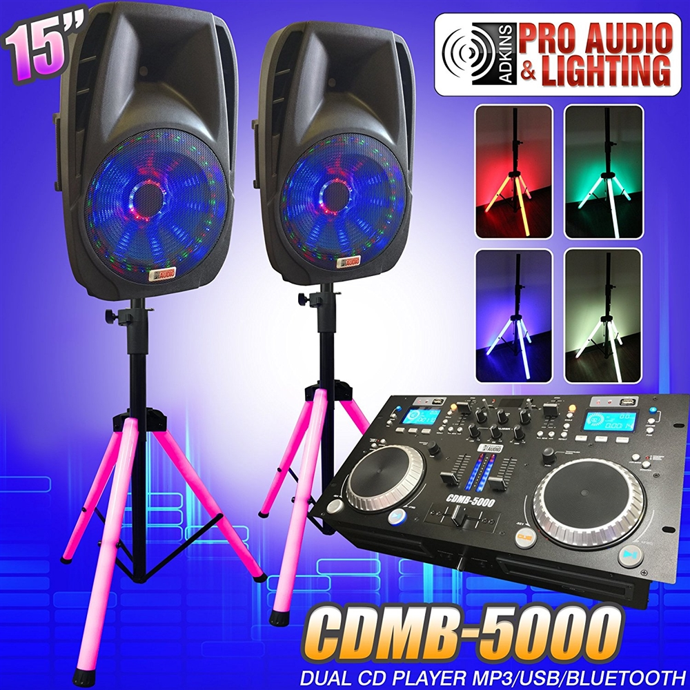 Lighted DJ System includes 2 Lighted Powered 15