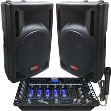 DJ System - 2400 Watts - Powered Speakers - 8 Channel DJ Mixer – Bluetooth – USB/SD Slot – Sound Effects - Echo - Adkins Professional Audio