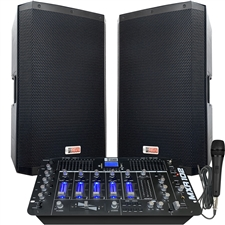 Professional DJ System - 4000 Watts - Powered Speakers - 8 Channel DJ Mixer – Bluetooth – USB/SD Slot – Sound Effects - Echo - Adkins Professional Audio