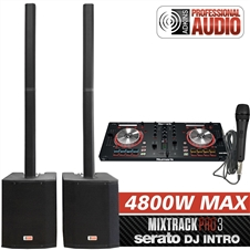 "DJ System - Serato Software - Column Speaker Array System, 2400 watts, 15"" Subwoofer, Numark Mixtrack Pro 3 - Adkins Professional Audio"