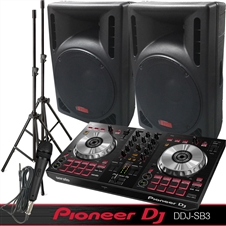 DJ System - Pioneer DJ Controller DDS-SB3 - Serato DJ Lite Software - 2400 Watts of Powered DJ Speakers w/Stands and Mic