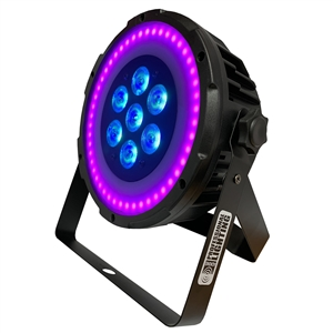 Ultra Bright LED FlatPar 7x10 Watt Hex RGBAW SlimPar Light w/FX Ring & Remote Control - Up-Lighting - Stage Lights - Adkins Professional Lighting