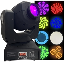 LED Moving Head Spot - Bright, Lightweight, 80 Watt, 8 Gobos, 8 Colors - Adkins Professional Lighting
