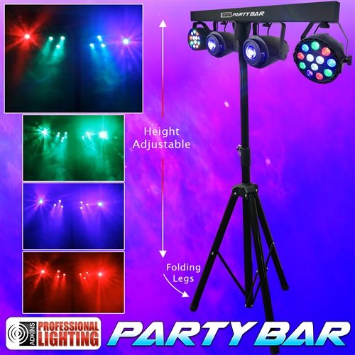 Party Bar Led Dj Lighting Includes Stand 2 12x1w Rgbw Pars 10w Moonflowers And A Remote Control