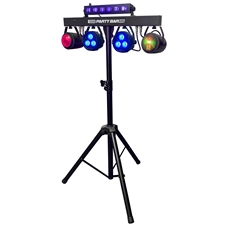 Party Bar X5 - LED DJ Lighting - Stage Lighting - Includes Stand, 2 Pars, 2 Effect Lights, Black Light Bar, Strobe and a Remote Control.