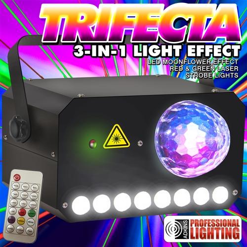 adkins lighting trifecta moonflower laser strobe combo