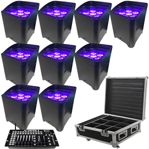 LED Battery Powered Wireless DMX - 16 Hour - 9 Lights w/Case - 6x6W RGBAW+UV