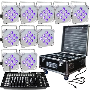 LED Battery Powered Wireless DMX - 16 Hour - 10 Lights w/Case - 9x6W RGBAW+UV - w/ Easy Controller - Wedding Up Lights