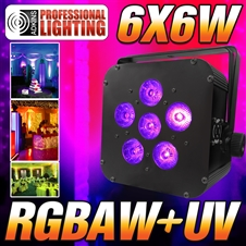 16 Hour LED Battery Powered Wireless DMX - 6x6 watt RGBAW+UV - Black Case - LED Up Light - Weddings - Stage Light - Dj Light