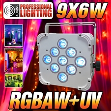 LED Up Light - 16 Hour LED Battery Powered Wireless DMX - 9x6w RGBAW+UV (Black Case) - Weddings - Stage Light - Dj Light