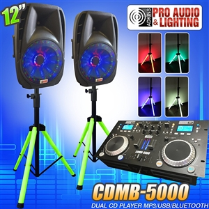 "Lighted DJ System includes 2 Lighted Powered 12"" DJ Speakers with 2 Lighted Speaker Stands - 1200 Watts - Bluetooth, MP3, USB, plug in your laptop or iPhone - Adkins Professional Audio"