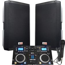 "4000 WATTS! The Powerhouse System - Connect your Laptop, iPod or play CD's! - 15"" Powered Speakers"
