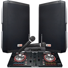 "4000 WATTS! The Powerhouse System with Mixtrack Pro 3 - Connect your Laptop, iPod or play CD's! - 15"" Powered Speakers"