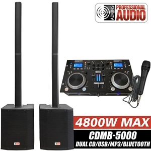"DJ System - Audio Mixer, Bluetooth, USB MP3 Player, CD Players - Column Speaker Array System, 2400 watts, 15"" Subwoofer - Adkins Professional Audio"