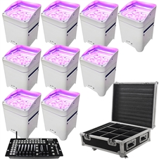 LED Battery Powered Wireless DMX - 16 Hour - 9 Lights w/Case - 6x6W RGBAW+UV - w/ Easy Controller - Wedding Up Lights